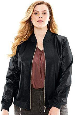black leather bomber jacket with grey top grey jeans
