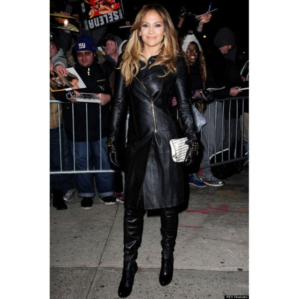 black leather coat with knee high boots