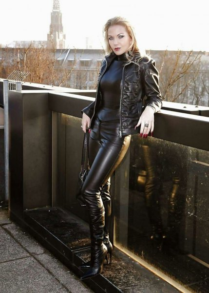 black leather jacket with leather jumpsuit