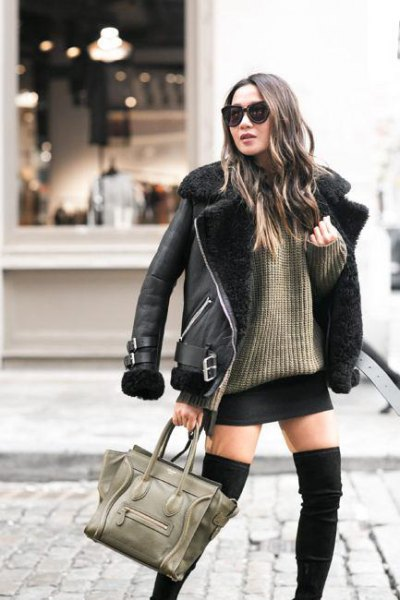 black leather jacket with ribbed chunky sweater mini skirt