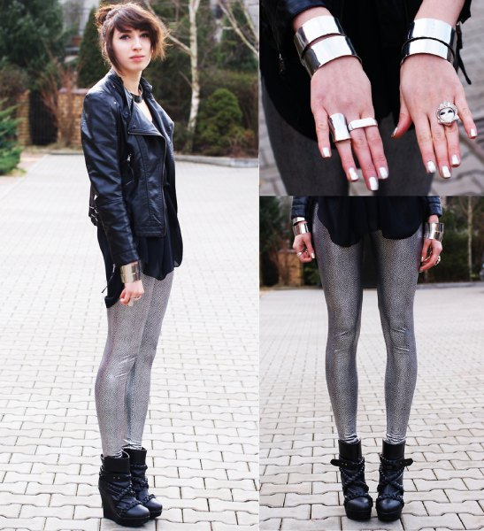black leather jacket with white print tee and sequin leggings