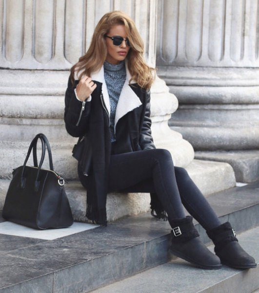 black leather shearling jacket with leggings and boots
