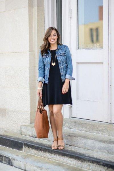 black long sleeve swing dress with blue denim jacket