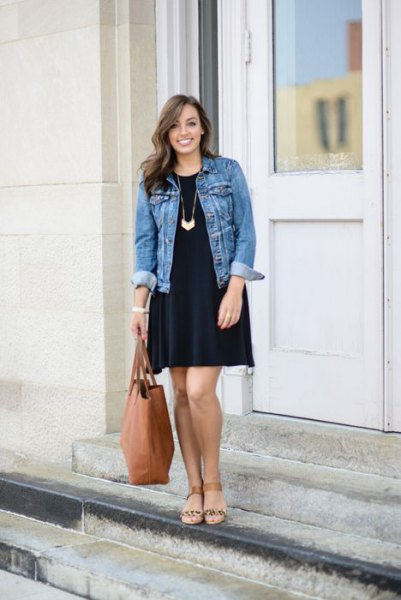 black long sleeve swing dress with blue denim jacket
