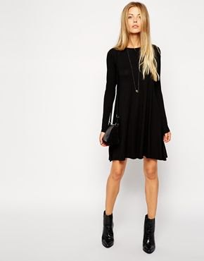 long sleeve dress with ankle boots
