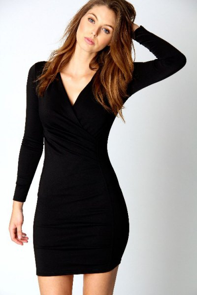 black long sleeve v neck mini bodycon dress