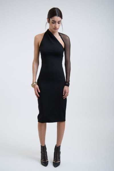 black mesh sleeve one shoulder sheath dress