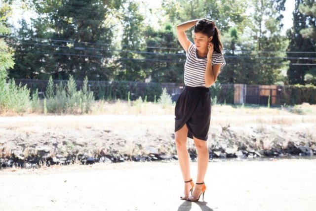 black mini skirt with striped short sleeve tee