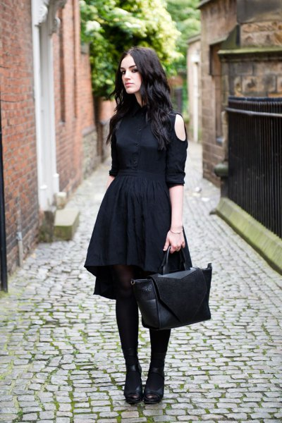 black off the shoulder gathered waist midi flared dress