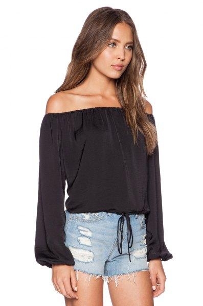 black off the shoulder peasant top blue denim mini shorts