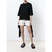black oversized tee white mini cargo shorts
