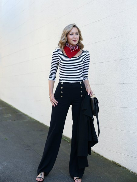 black sailor pants with striped tee and choker scarf