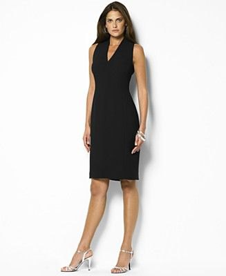 black sleeveless v neck sheath knee length dress