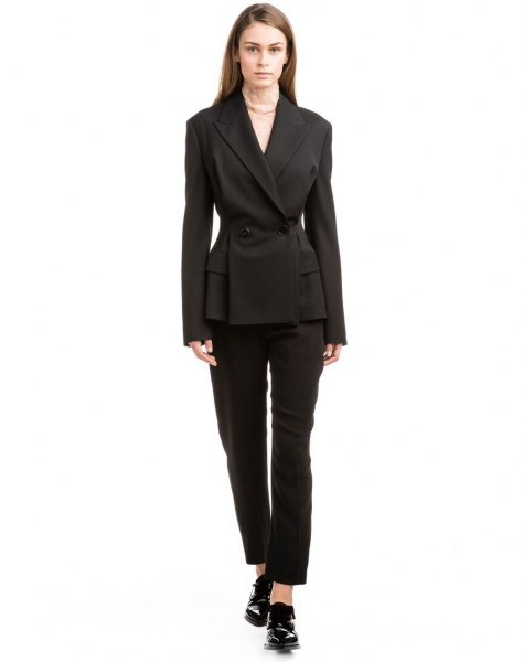 black slim fit double breasted suit