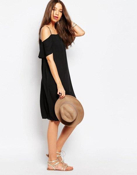 black spaghetti strap cold shoulder shift dress
