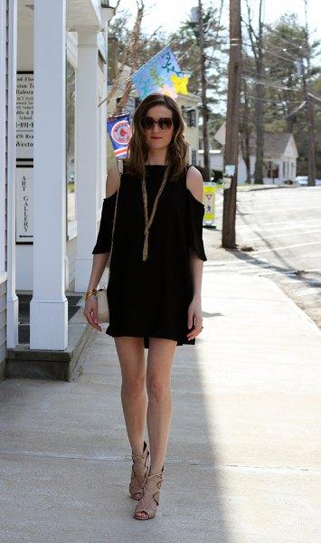 black three quarter sleeve cold shoulder mini shift dress