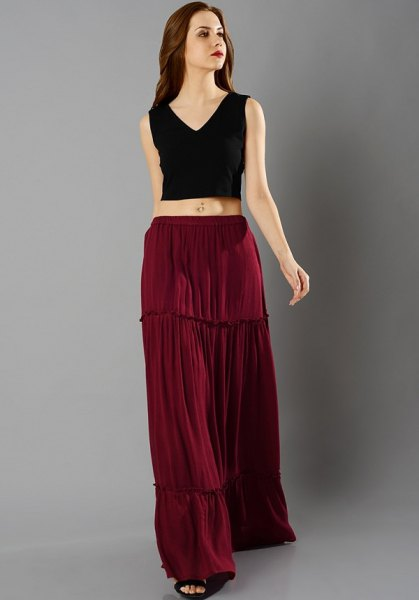 black v neck sleeveless crop top brown peasant skirt