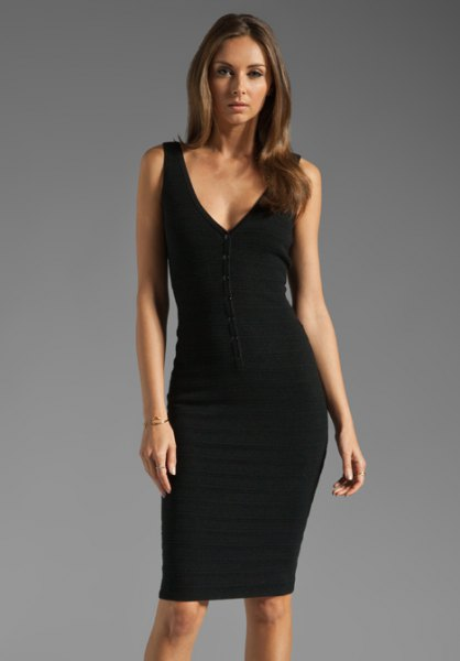 black v neck tank bodycon dress