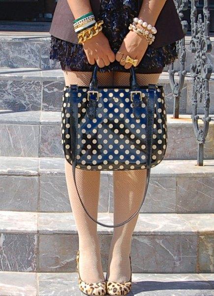 blazer mini dress black and pink polka dot purse