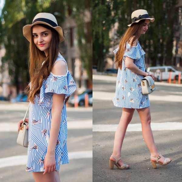 blue and white striped open shoulder mini dress
