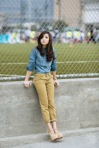 blue chambray shirt lime green cropped pants