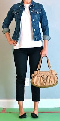 blue denim jacket and white t shirt