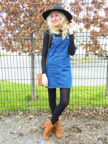 blue denim pinafore dress with black top felt hat