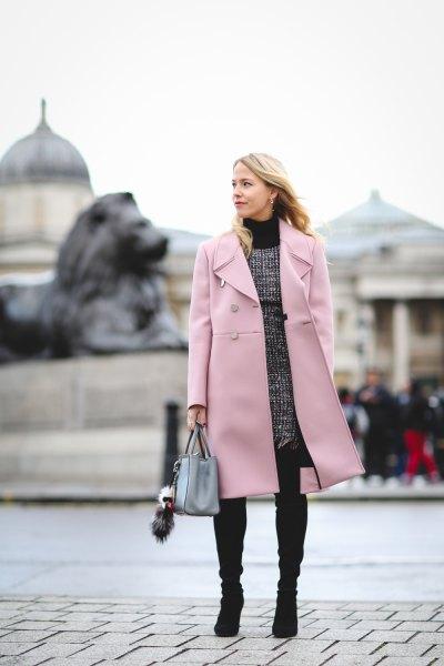 blush long coat grey knee length tweed dress