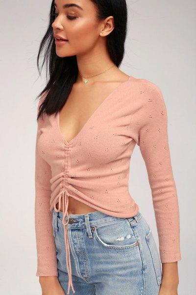 blush pink deep v neck ruched top light blue mom jeans