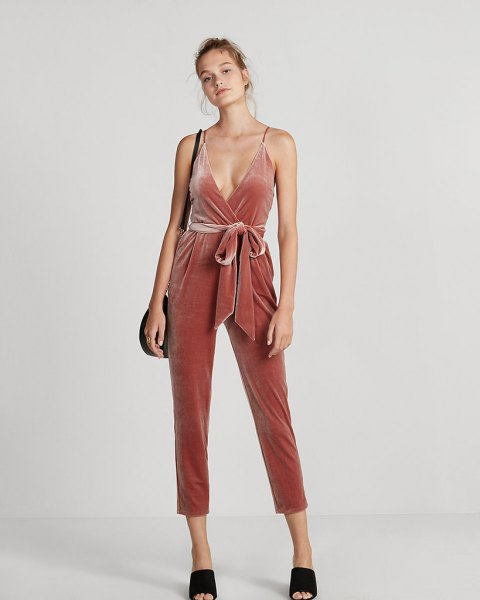 blush pink deep v neck tie waist cropped velvet jumpsuit