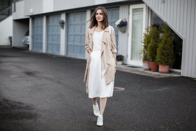 blush pink long trench coat with white culottes