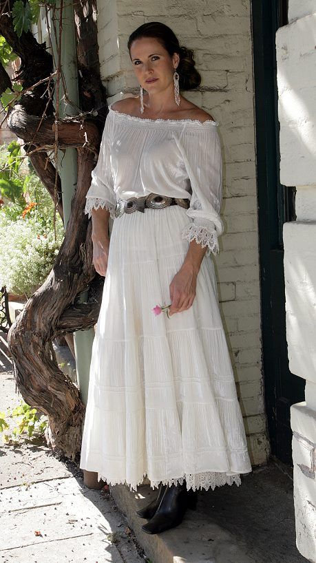 broomstick skirt all white