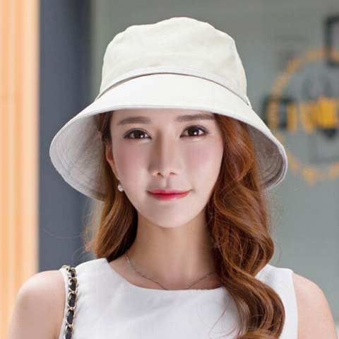 bucket hat with white sleeveless shift mini dress