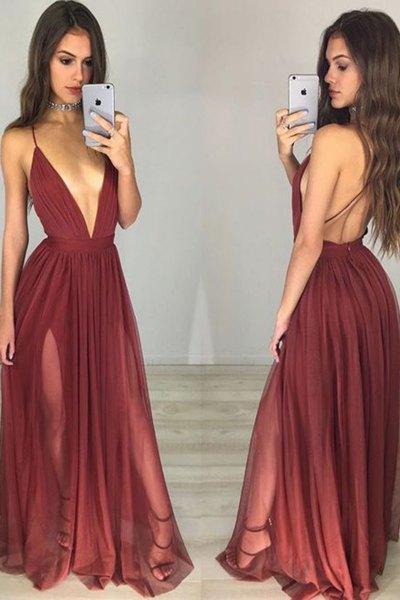 burgundy plunging neckline backless floor length pleated dress