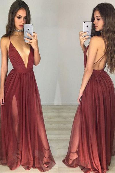 burgundy plunging neckline backless floor length pleated dress
