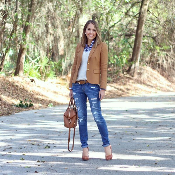 camel blazer with blue striped shirt and white sweater
