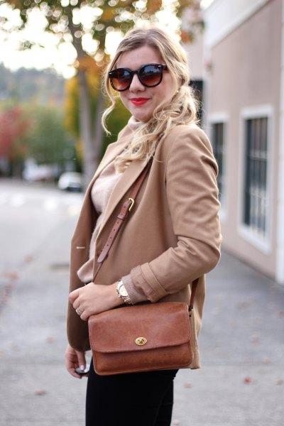 camel blazer with white turtleneck knit sweater