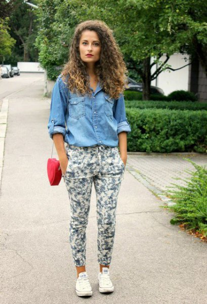 chambray button up shirt with white floral pants