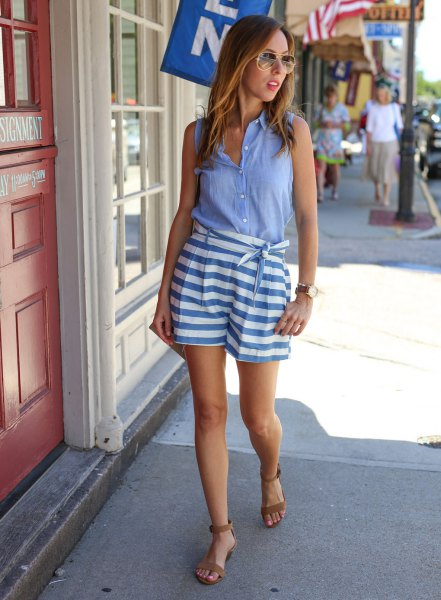 chambray sleeveless shirt blue and white striped tie waist shorts