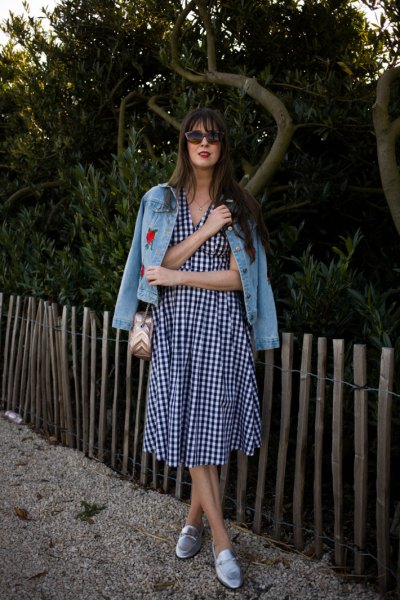 checkered midi flared dress with embroidered denim jacket loafers