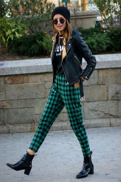 checkered pants black leather jacket knit hat