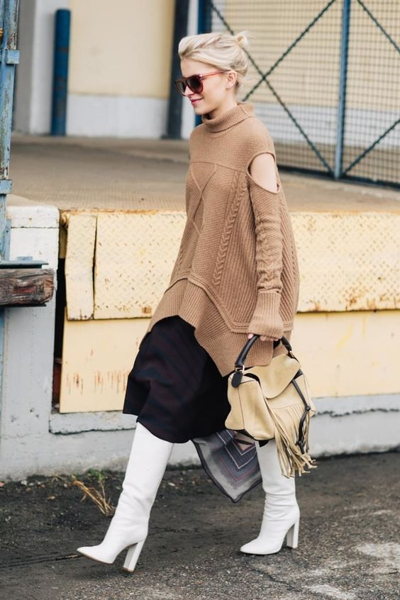 cold shoulder sweater camel