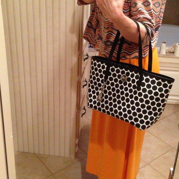 crepe and black tribal printed top orange midi skirt