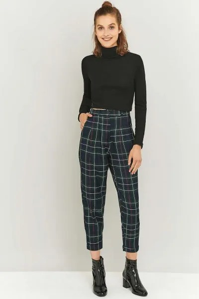 cropped checkered pants black turtleneck form fitting sweater