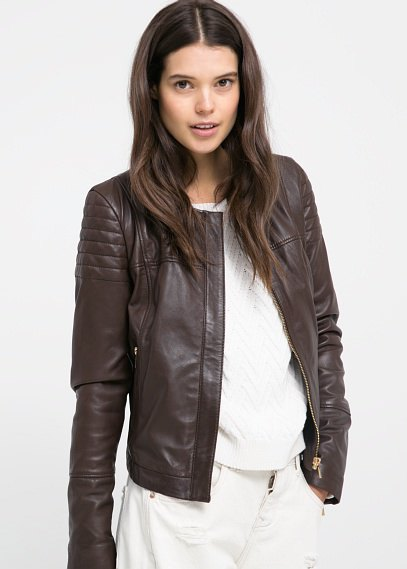 dark brown leather bomber jacket with white wide leg jeans
