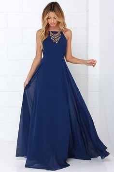 deep blue chiffon maxi flared dress