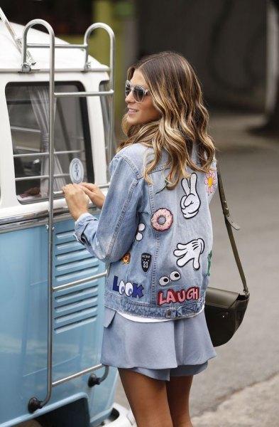 denim jacket light blue chiffon mini dress