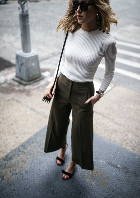 cropped wide leg pants olive