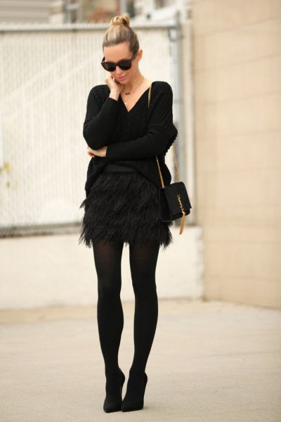 feather mini skirt with all black outfit