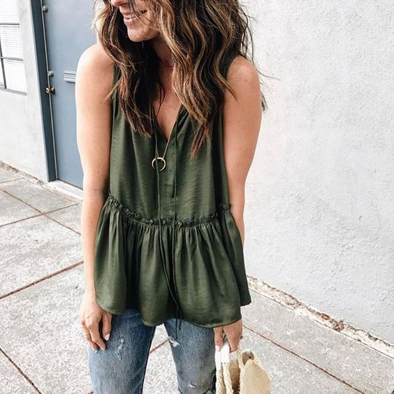 flowy tops olive green